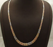 "20"" Technibond Elegant Byzantine Chain Necklace 14K Tri-Color Gold Clad Silver"