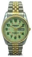 Mens Swanson Gold and Silver Metal Band Glow Neon Dial Green Numbers Date Watch