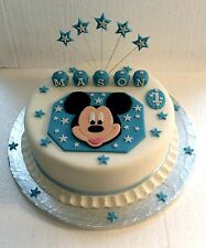 Mickey Mouse & Name Block Cake Topper - Any Colour - Birthday - Christening