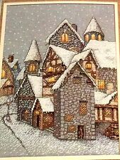 Winter EVENING SNOWFALL IN THE VILLAGE Cross Stitch Kit Vintage 1992 Sharon Pope