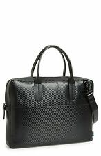 $485 BEN MINKOFF Men's BLACK Fulton SLIM LEATHER MESSENGER BAG WORK BRIEFCASE