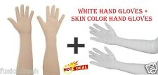 2 Pairs Ladies Women Hot Summer Full Sleeves Hand Gloves White Skin Color Long