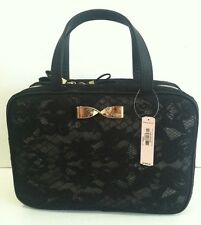 Victoria's Secret Hanging Travel Case Cosmetic Bag Black Gold Bow New.