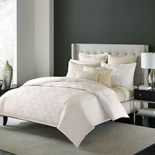 NEW Hudson Park Luxe Belmonte Ivory Pale Gold QUEEN Duvet Cover MSRP $475!