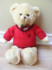 "Ralph Lauren Polo Teddy Bear Red Sweater Plaid Bowtie 16"" Plush Stuffed 2007"