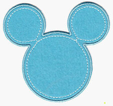 "DISNEY- ""MICKEY"" MOUSE HEAD BLUE - CARTOON - CHILDREN-Iron On Embroidered Patch"