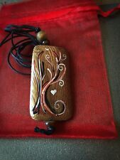 TREE OF LIFE Pendant. Hand Painted Wood Necklace Pagan Jewellery. Heart Witch