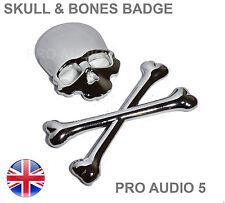 Skull & Cross Bones Chrome Car Badge - Boot Body - Car Van Truck 4x4 Pirate - UK