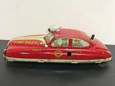 Marx Toys Tin Vintage FIRE CHIEF Fire Dept Wind Up car with Battery Op Light