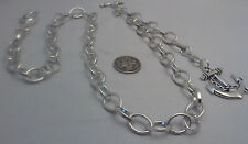 NEW HAND-MADE SILVER PLATED POCKET WATCH CHAIN: SNGL ALBERT FLAT OVAL LINK