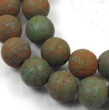 8mm Czech Glass Round Beads : Stone Picasso - Turquoise (25)