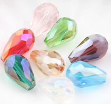 50Pcs Teardrop Czech Drop Faceted Glass Crystal Loose Spacer Beads Xmas Gift