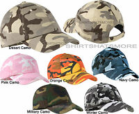 Cotton Twill Camo Baseball Cap Hat Camouflage Adjustable  Unstructured NEW