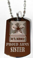 United States Military Proud Army Sister Dog Tag Metal Chain Necklace Jewelry