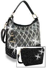 Rhinestone Gem Hobo Handbag Set -Large One includes Extra Extendable Strap