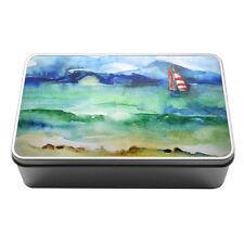 Acquerello Barca a Vela Nautico d'acqua in metallo di stoccaggio TIN BOX 099