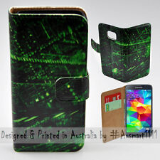 Wallet Phone Case Flip Cover for Samsung Galaxy S5 - Matrix Abstract HQ Print