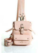 MARINA HOERMANSEDER Light Pink Leather Gold Tone Baby Cookie Backpack Handbag