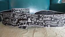 """WIRE EDGE RIBBON  XMAS chalkboard Black White SCRIPT 2.5"""" 5 yd DIY Bow wreaths"""