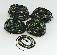 Halloween Black & Green Coiled Rubber Asp Snake Medusa Fancydress