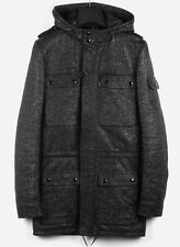 Dior Homme AW07 Slimane men military glitter leather parka jacket coat Sz.46/S