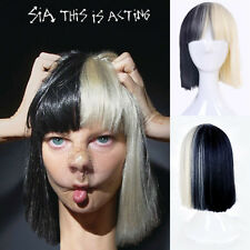 SEX short Straight Cosplay Fashion sia Wig Black Blonde Mix heat resistant hair