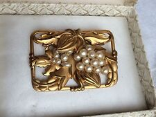 BeautifulVintage Art Deco Gold Pinchbeck Faux Pearl Grape Vine Brooch Germany