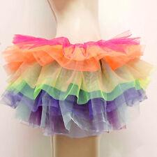 Women Fancy Tutu Short Underskirt Dress Rainbow Puffed Burlesque Petticoat