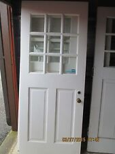 ANTIQUE EXTERIOR WOOD DOOR 9 PANES GLASS AND 2 VERTICAL PANELS