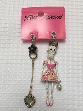 ❤BETSEY JOHNSON❤BN Crystal Sugar Skull Chandelier Earrings Heart Rhinestone Pair