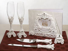 Fairytale Theme Coach Guest Book Pen Set Toasting Flutes Cake Knife & Server Set