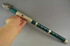 15.6Inch Old Green Jade Armoured Dragon Head & C0in Rare Good Lucky Lone Flute