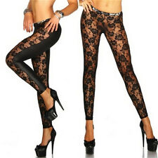 Womens Black Rose Vine Sheer Stretchy Floral Lace Leggings Tight Pencil Pants JG