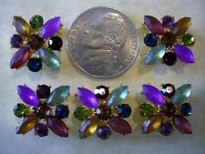 2 Hole Slider Beads X-Flower Dark Mixed Crys in Gold Made w/Swarovski Elements#5