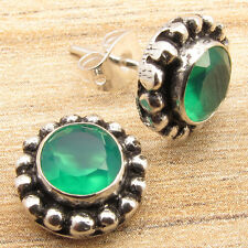 925 Silver Overlay Genuine CABOCHON GREEN ONYX ETHNIC HANDCRAFTED Studs Earrings