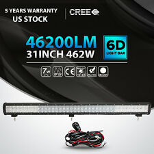 "31""inch 462W CREE 5D LED Light Bar Flood Spot Combo Offroad Pickup SUV UTE 30"""
