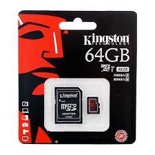 Kingston 64GB microSDXC Class 10 UHS-I U3 Card - 90MB/s rd 80MB/s wrt + SD Adptr