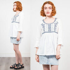 WOMENS VINTAGE RETRO EMBROIDERED TOP HIPPIE BOHO RETRO TOP SMOCK STYLE 12