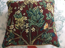 New/Tags Signare Tapestry Double sided square Morris Tree of Life Cushion ~ Red