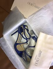 JIMMY CHOO Lang Strappy Patent Leather Sandals Size 38 Aegean
