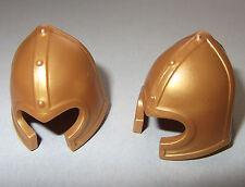 06012, 2x Helm, Beckenhaube, gold