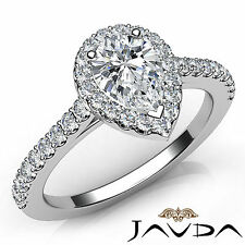Pear Shape Diamond Engagement Shared Prong Set Ring GIA G VS2 18k White Gold 1Ct