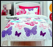 Butterfly White Pink Red Green * 2pc SINGLE QUILT DOONA DUVET COVER SET NEW