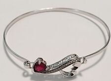 925 Sterling Silver Open Heart Bracelet With Red Stone Signed LA - NO RESERVE