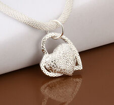 lovely Silver Plated double Heart Necklace womens jewelry gift
