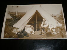 Old real photograph RPPC postcard couple and tent c1940s