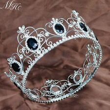 King Prince Black Crystal Crowns Full Round Tiaras Wedding Pageant Party Prom