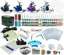 Complete Tattoo Kit 4 Machine Set Equipment Power Supply 40 Color Inks TKT-7-4