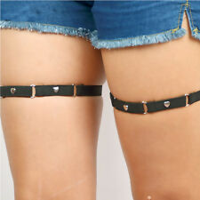 leg band garters with linked heart studs (pair), goth, pentagram, harness