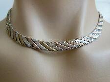 Stunning Sterling Silver Tri Color Rose & Yellow Gold Vermeil Diamond Cut Choker